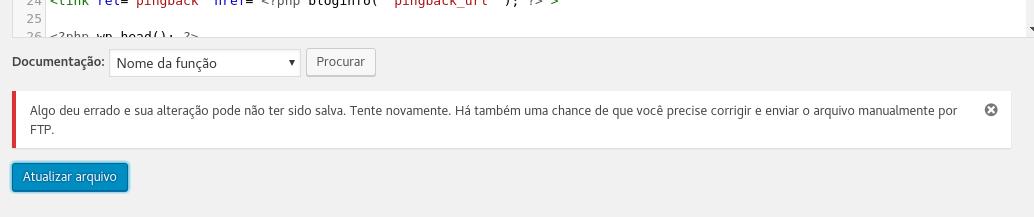 WordPress - Erro ao atualizar