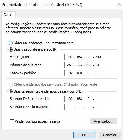 Colocando um endereço de IP estático