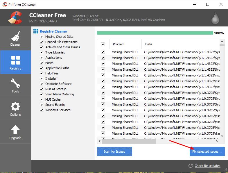 Consertar problemas do registro