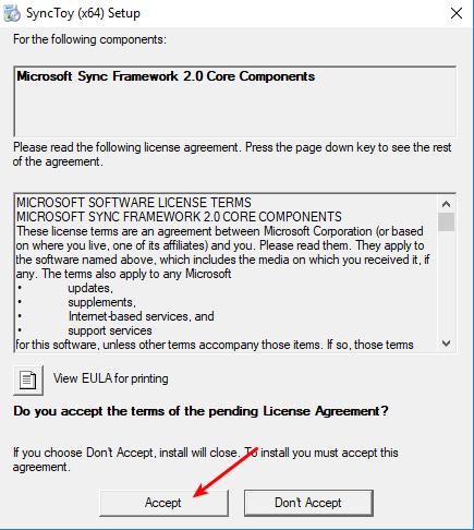 Aceitar componente Framework 1