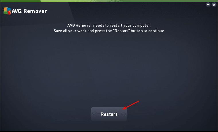 Reinicar para começar o processo do AVG Remover
