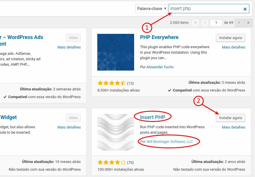 Localizar e instalar o plugin Insert PHP