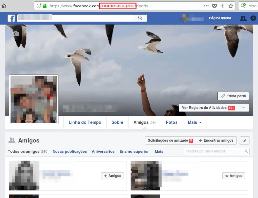 Localizar nome de usuário do Facebook