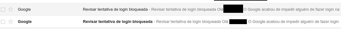 Email - Mensagens de acesso bloqueado