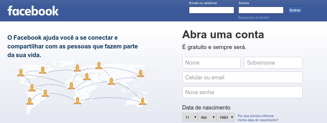 Login Facebook sem e-mail ou celular