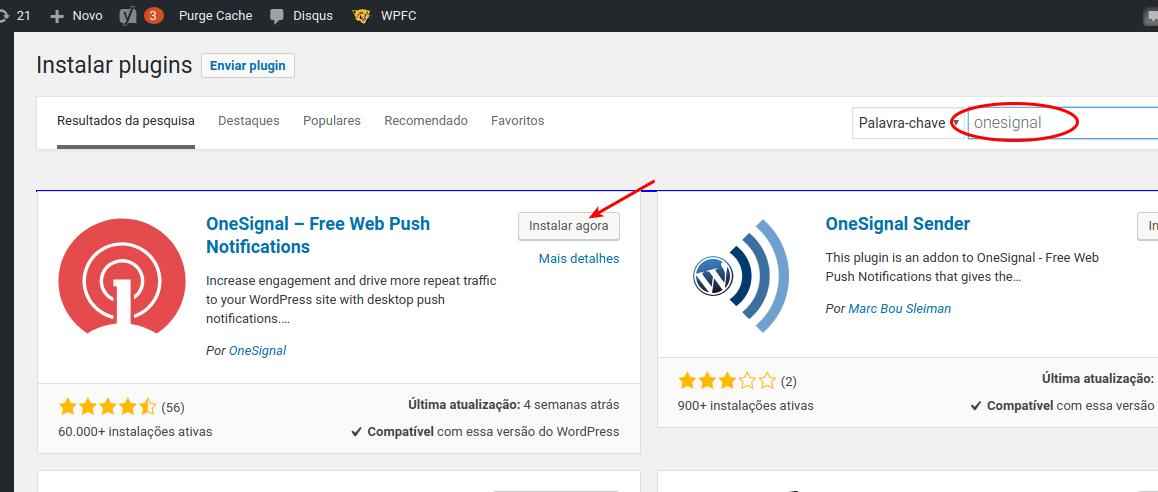 Instalar plugin OneSignal