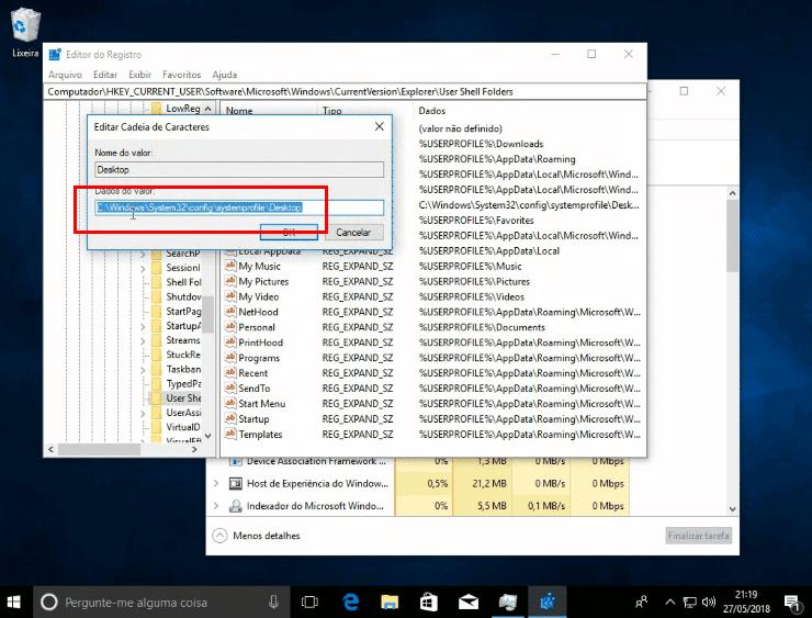 Valor errado do Desktop