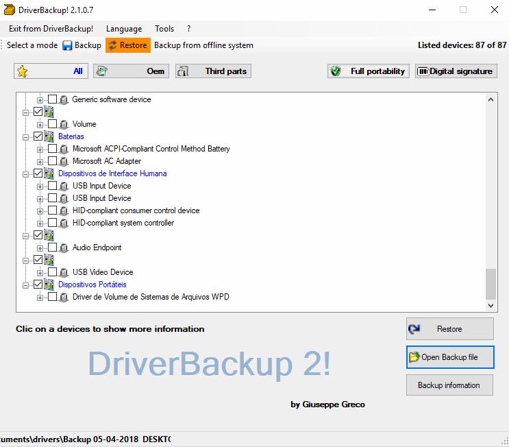 DriverBackup! - Lista dos drivers