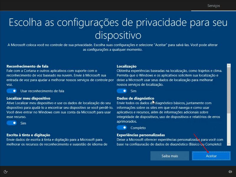 Escolhendo as configurações de privacidade
