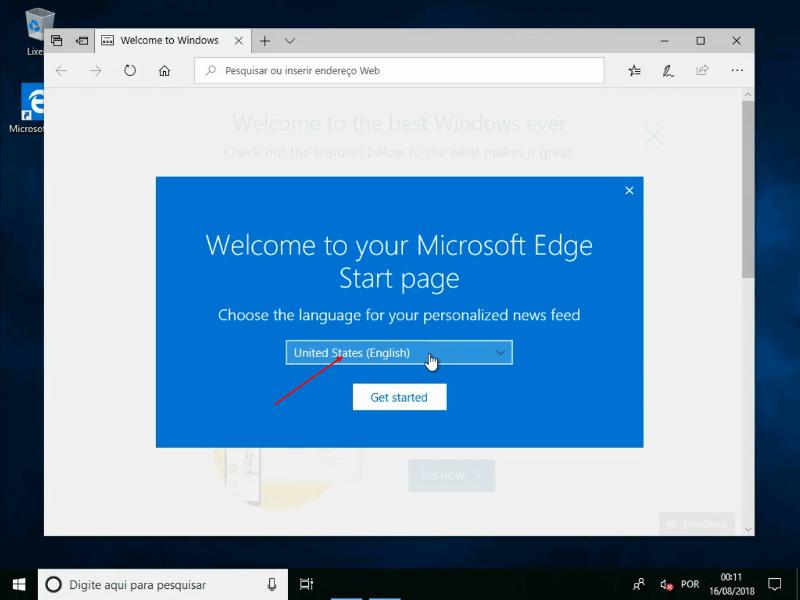 Configuração inicial do Edge