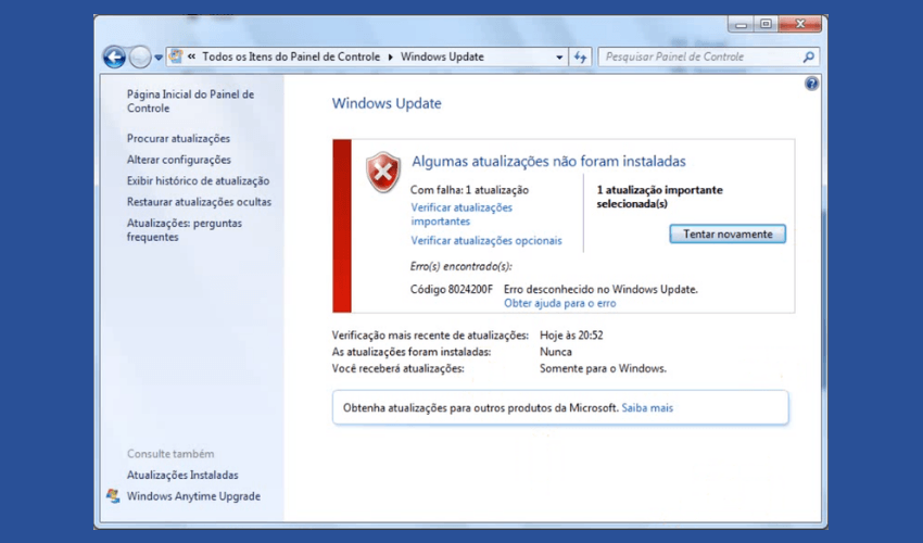 Erro 8024200F do Windows Update