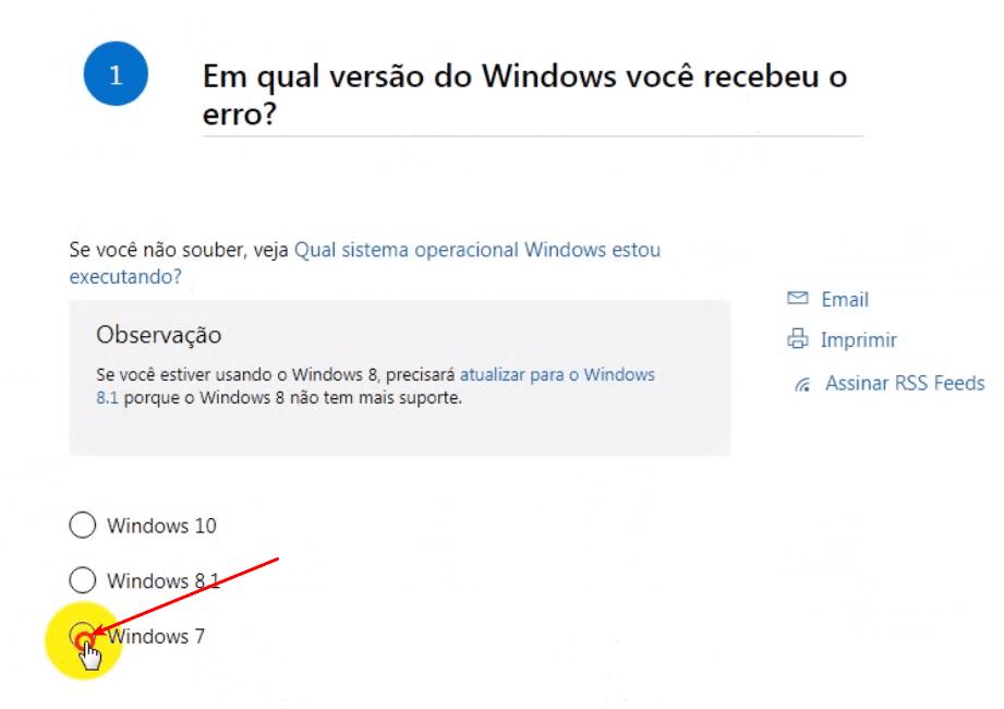 Selecionar a versão do Windows