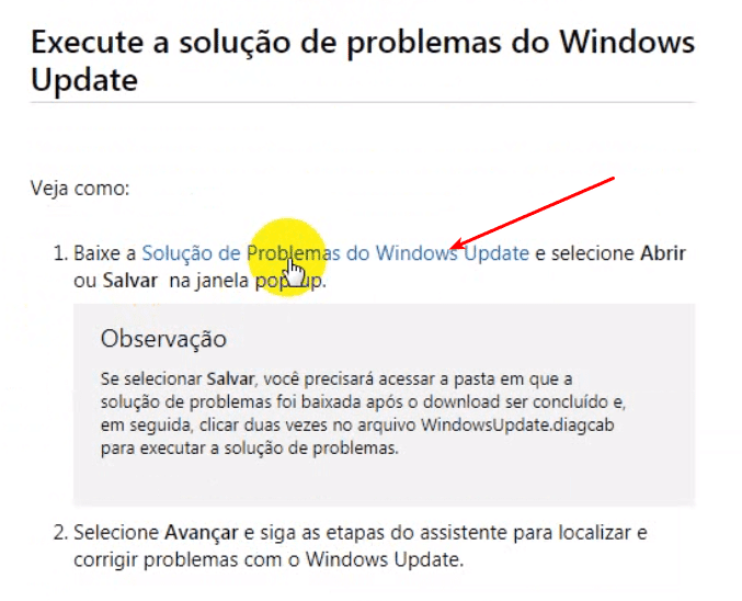 Baixar a ferramenta do Windows Update