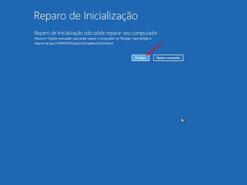 Consertar 'No bootable device' no Windows 10 8
