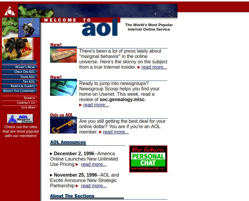 Aol em dezembro de 1996