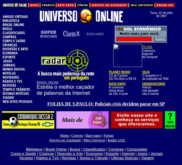 Bol - Uol em fevereiro de 1997