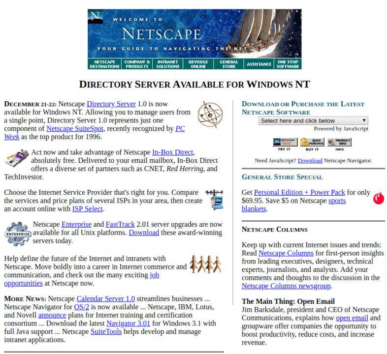 Netscape em dezembro de 1996