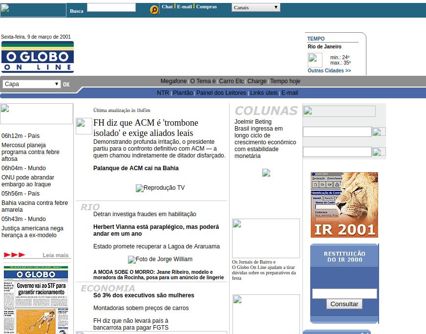 O globo em março de 2001