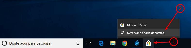 Remover Microsoft Store da Taskbar
