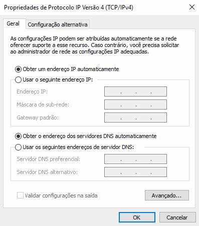 Configuração de Servidores DNS padrão