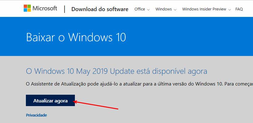 Como obter a atualização de maio/2019 do Windows 10 1