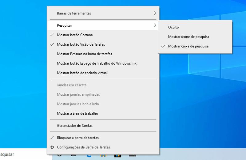 Cortana separada da pesquisa interna
