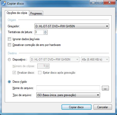 Selecione o disco rígido para gerar a imagem ISO
