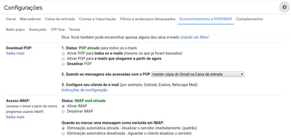 Ativar IMAP no gmail