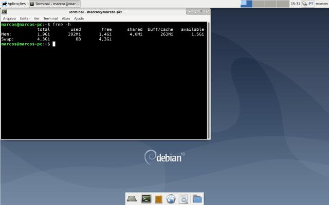 Consumo de memória no Debian 10