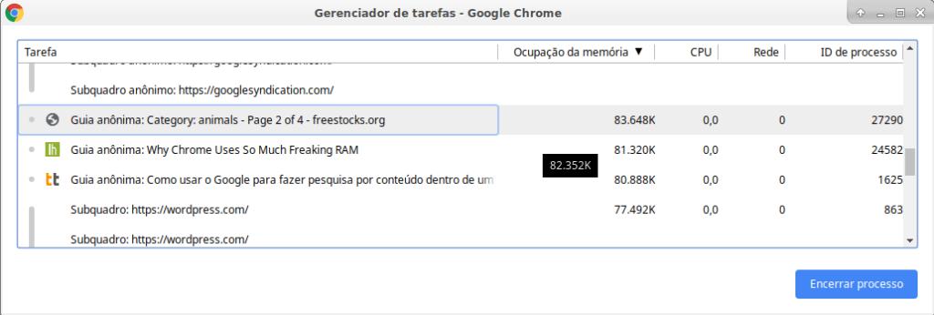 Gerenciador de tarefas do Chrome