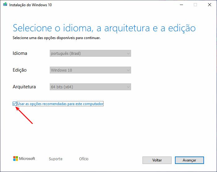 Baixar Windows 10 - Desmarcar opções recomendadas
