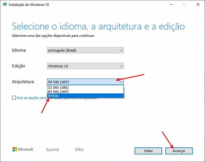 Baixar Windows 10 - Selecionar arquitetura 32 bits, 64 bits ou ambas