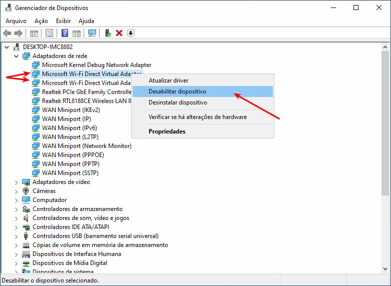 Desabilitar o Microsoft WiFi