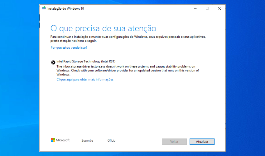 Erro no Windows Update driver Intel RST