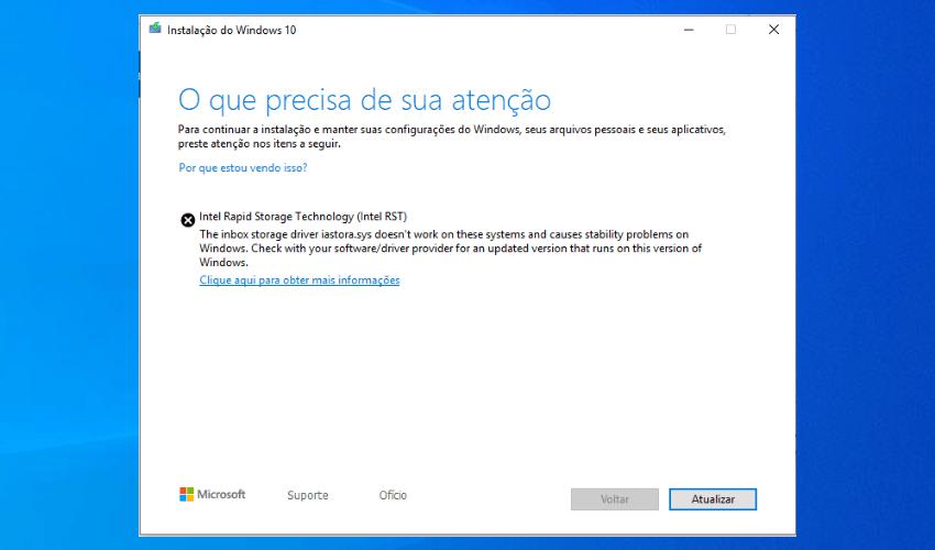 Erro no Windows Update driver Intel RST