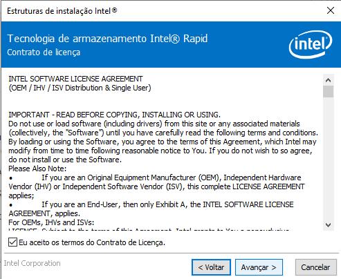 Instalação do Intel RST versão 17 parte 2