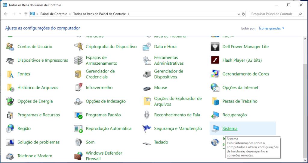 Painel de Controle no Windows 10
