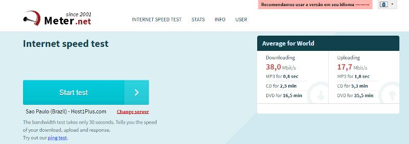 Meter.net - Site para medir velocidade da Internet