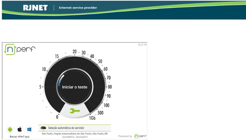Rjnet - Um dos pioneiros em testes de velocidade da Internet