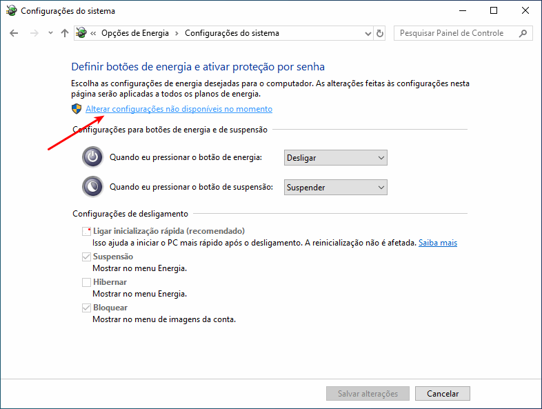 Alterar configurações não disponíveis no momento