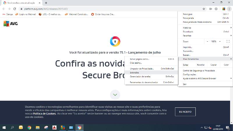 Menu e extensões do Chrome