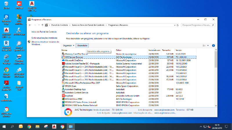Desinstalar AVG Secure Browser