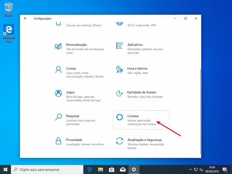 Opções da Cortana