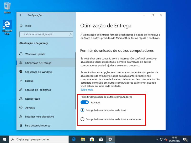 Permitir downloads de outros computadores