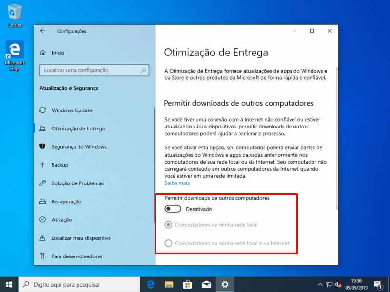 Desativar downloads de outros computadores