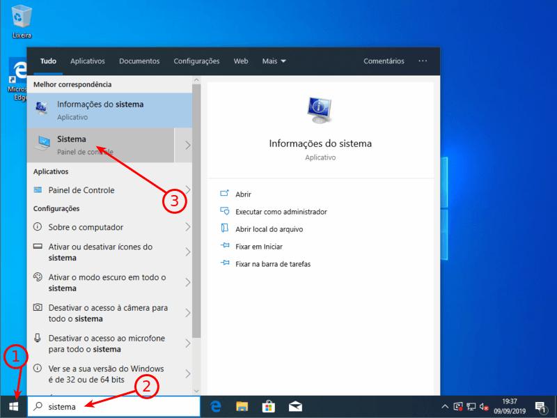 Opções de sistema do Windows 10
