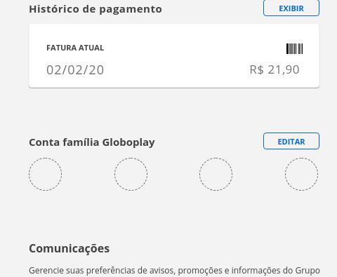 Conta família GloboPlay