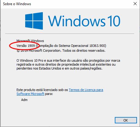 Windows 10 versão 1909 - Precisa ser atualizada