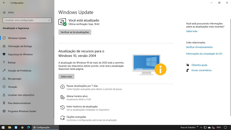 Windows 10 não aceita a atualização 2004 automaticamente