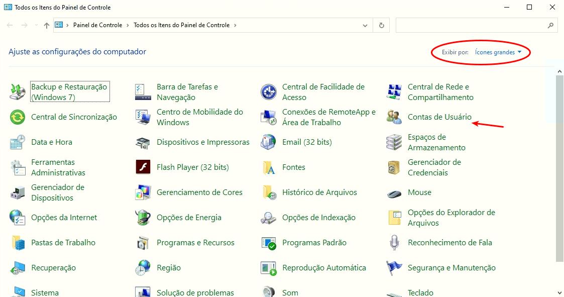 Contas de usuários no Windows 10